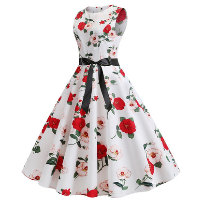 Retro Floral Belted A Line Dress