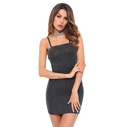 Spaghetti Strap Backless Sequined Bodycon Women Slip Mini Dress