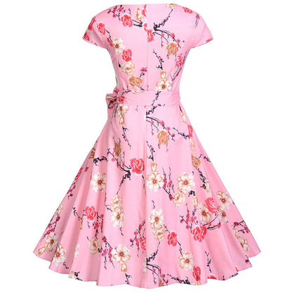 Floral Print A Line Belted Dress