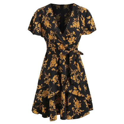 Floral Ruffled Mini A Line Dress
