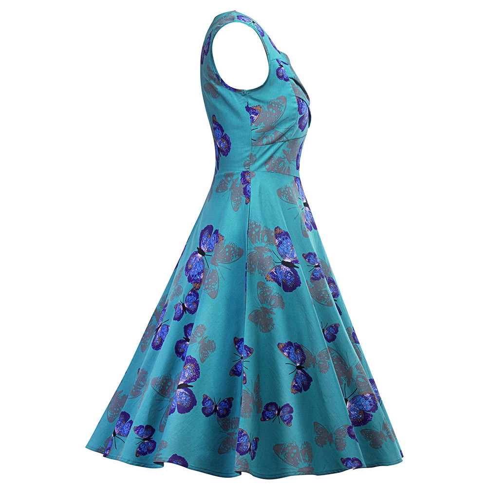 Butterfly Print Sweetheart Neck Flare Dress