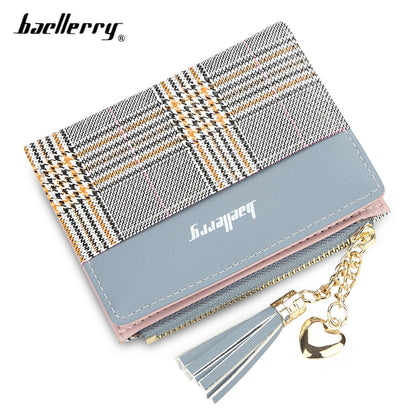 Baellerry Tassel Sweetheart Wave Striped Zipper Women Wallet