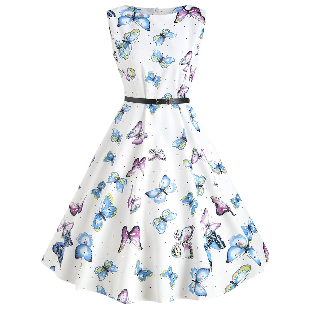 Butterfly Print Vintage Swing Dress