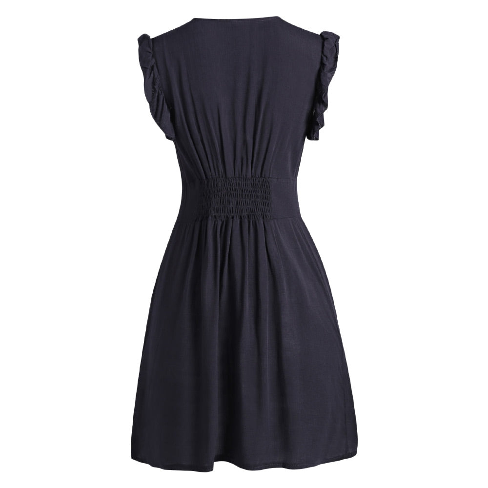 Plunging Neckline Buttons Mini Dress