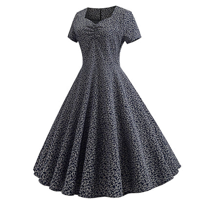 Sweetheart Neck Short Sleeve Floral Print A-line Women Vintage Dress