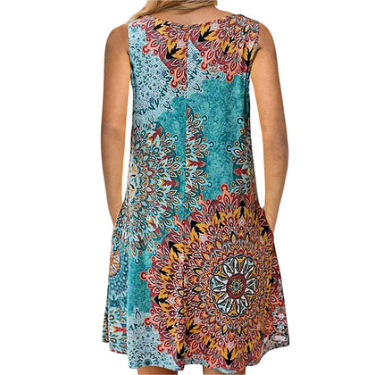 Seam Pockets Printed Sleeveless Dress