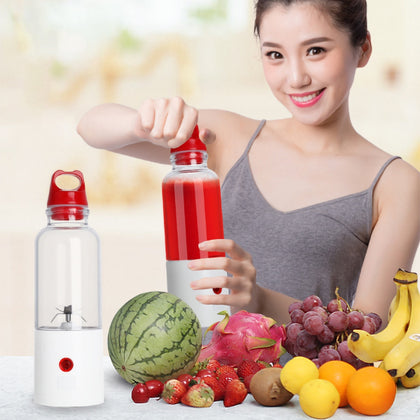 6-leaf Blade Electric Portable Juicer Fruit Vegetable Juice Mixer Power Bank