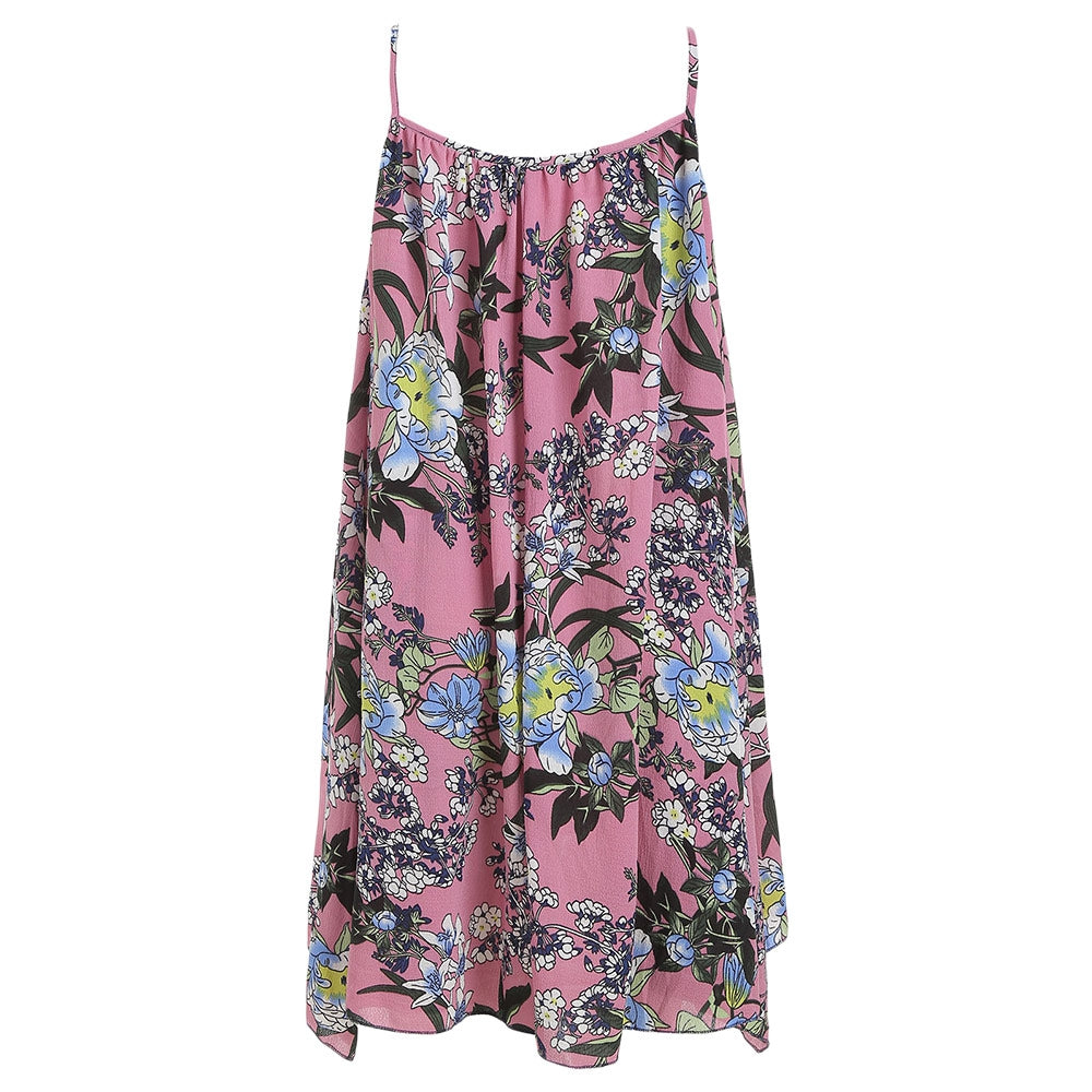 Spaghetti Strap Dress Two-piece Floral Print