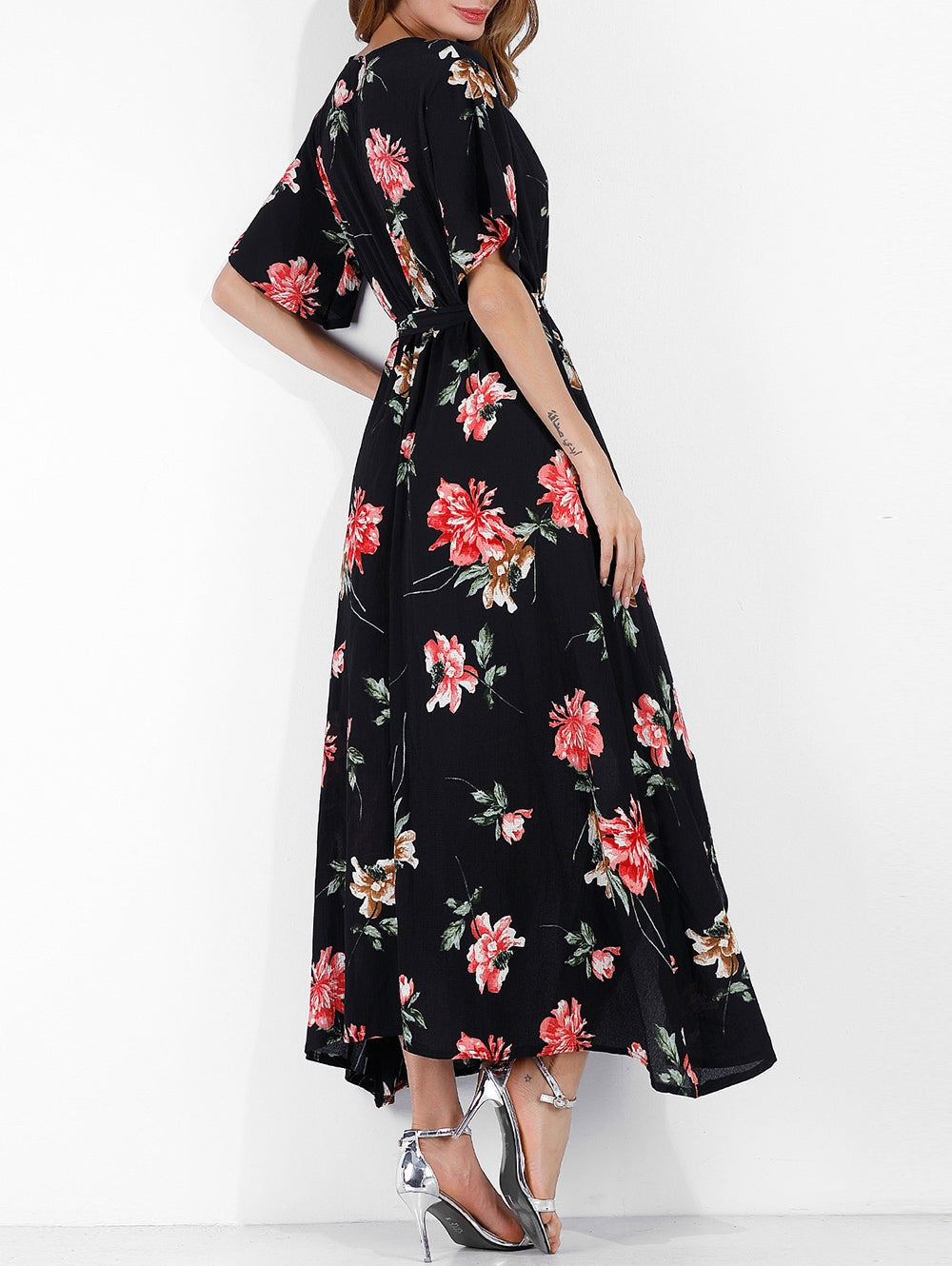 Surplice Flower Slit Long Belted Dress