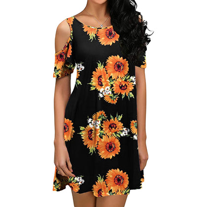 Flower Open Shoulder Mini Dress