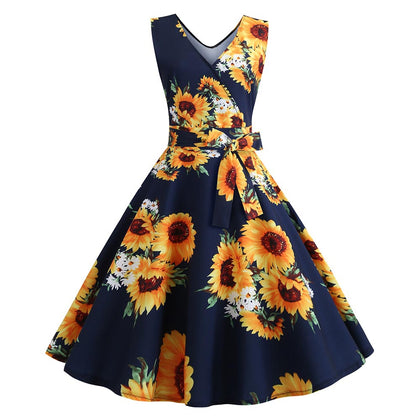 Sunflower Print Sleeveless Belted Flare Dress