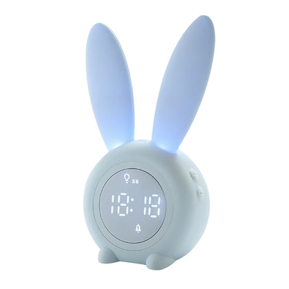 XR - MM - C03 Bunny Ear Alarm Clock Electronic LED Display Sound Control Rabbit Night Lamp