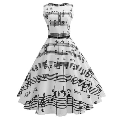 Musical Notes Sleeveless Vintage Belted Dress