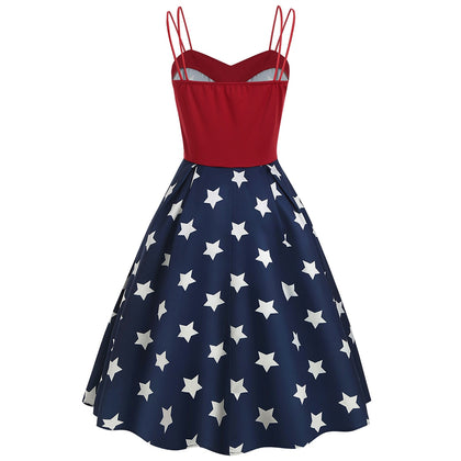 Women Dress Star Print Splice Dual Spaghetti Strap