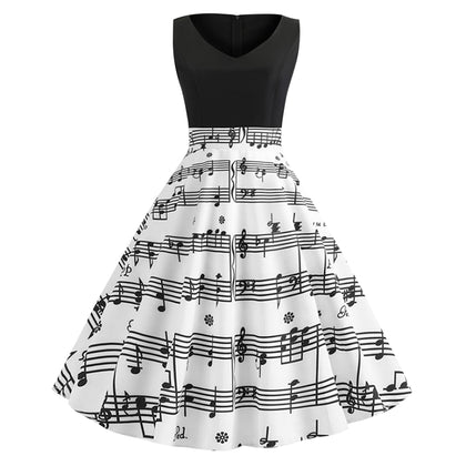 V Neck Musical Note Print  Sleeveless Women Dress