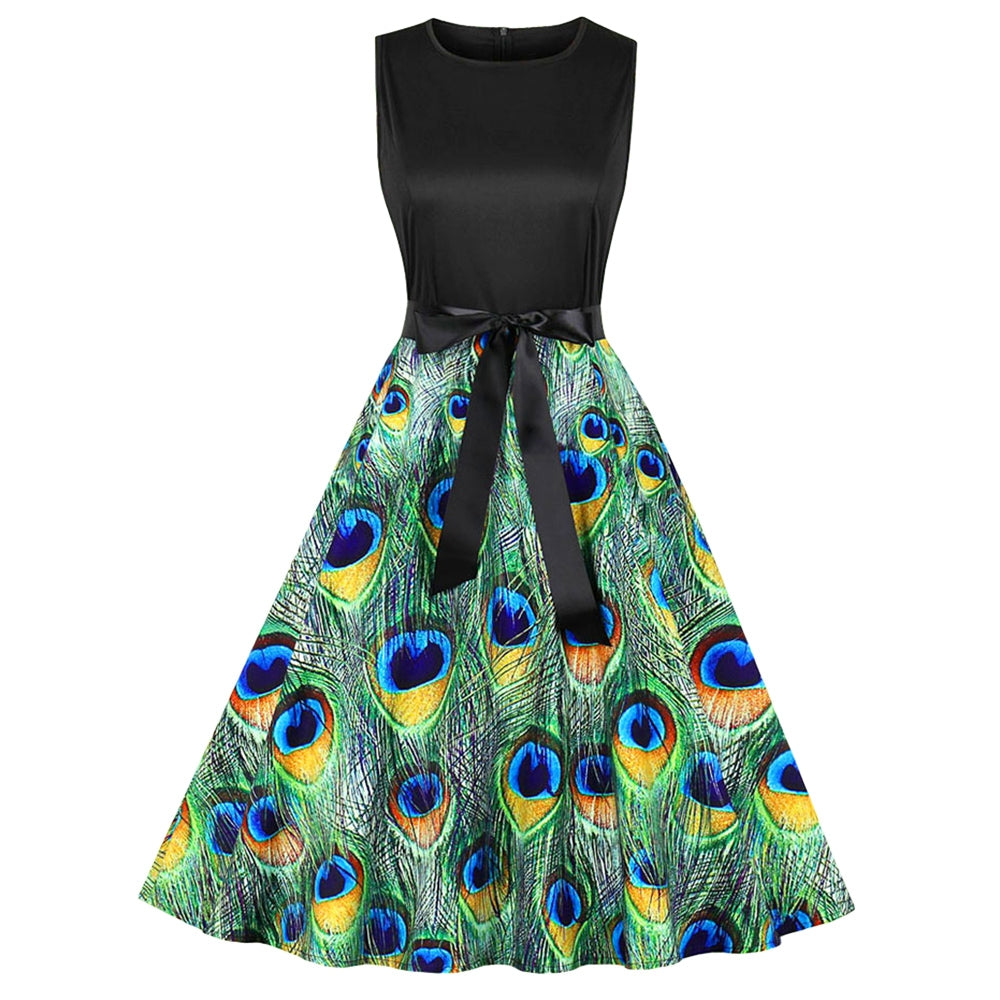 Peacock Feather Print Belted Sleeveless A Line Dress