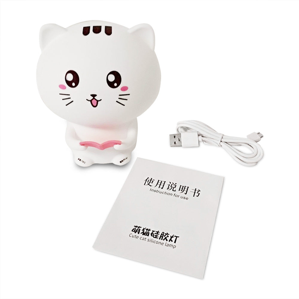Cat Pattern Patting Tap Night Light Lamp for Bedroom USB Colorful Lights