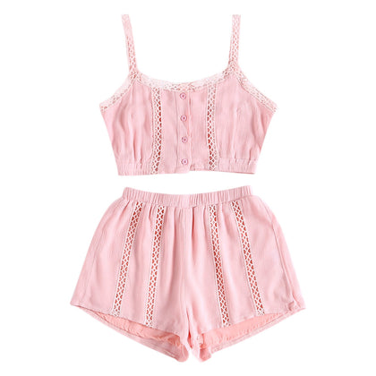 Women Two-piece Suit Strap Hollow-out Loose Crop Top Shorts