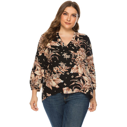 Plus Size Floral Print Blouse V Neck 3/4 Length Sleeve for Women