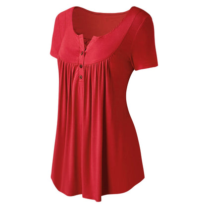 Plus Size Solid Color Ruched Front Button T Shirt