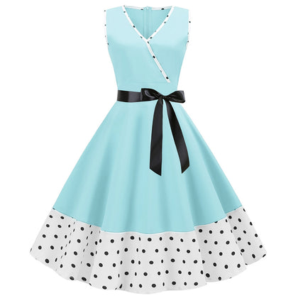V Neck Belted Polka Dot Trim A Line Dress