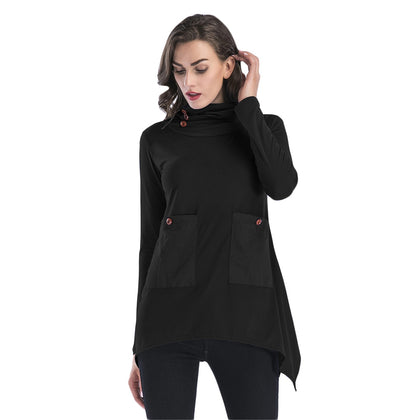 Cowl Neck Women Blouse Big Pocket Asymmetric Hem Long Sleeve T-shirt