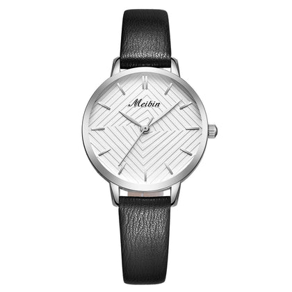 Meibin 1063 Women's Quartz Watch Small Dial Waterproof Leather Belt