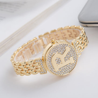 REALY A0158 Women's Quartz Watch R Letter Personality Design Nostalgic Clamshell