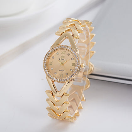 REALY A0150 Ladies Quartz Watch Personality Large V Stitching Diamond