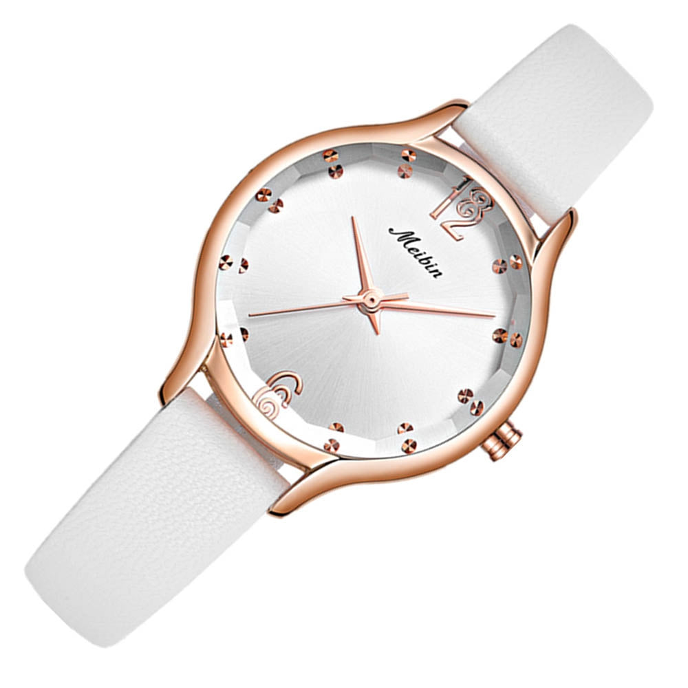 MEIBIN 1066 Women Simple Quartz Watch Leather Strap Waterproof