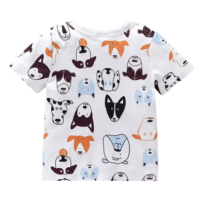 AB0002 Baby Girls Boys T-shirt Top Dog Printed Short Sleeve Round Neck