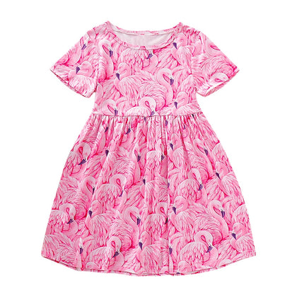 AD0018 Girls Dress Short Sleeve Round Neck Printed Bird Cute Pattern