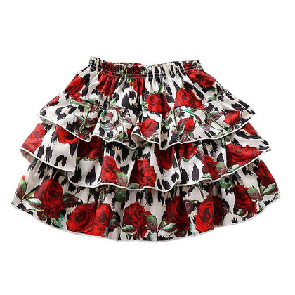 AD0022 Girls Skirt Floral Printed Pleated Layered Fold