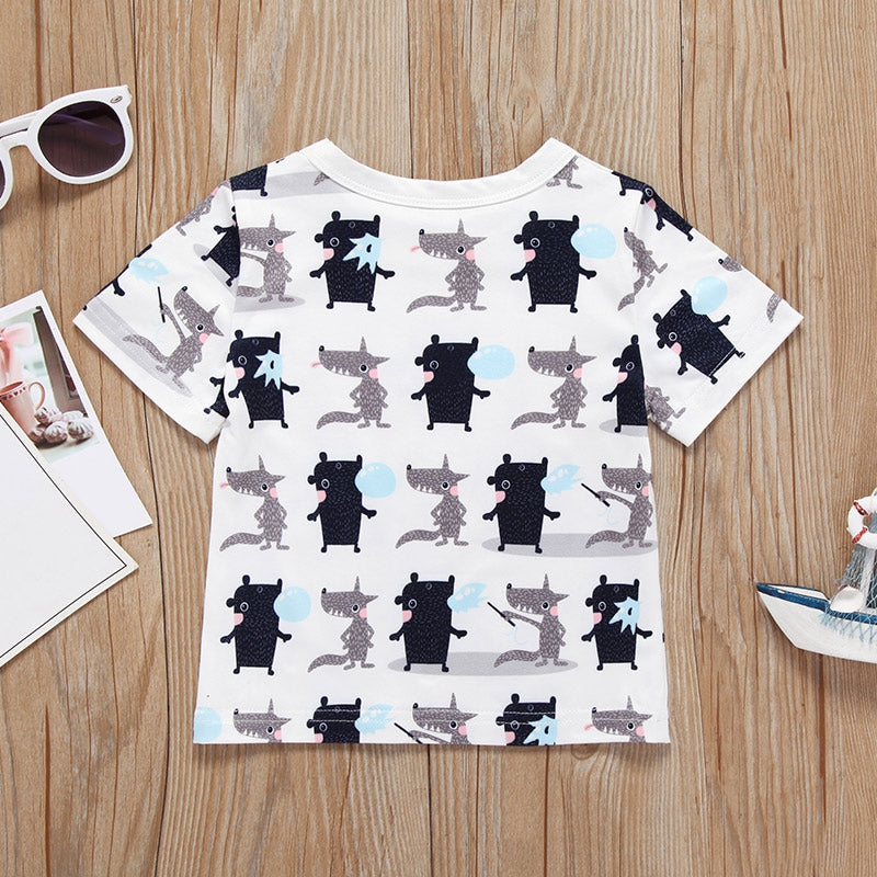 AB0001 Baby Girls Boys T-shirt Top Animal Printed Short Sleeve Round Neck