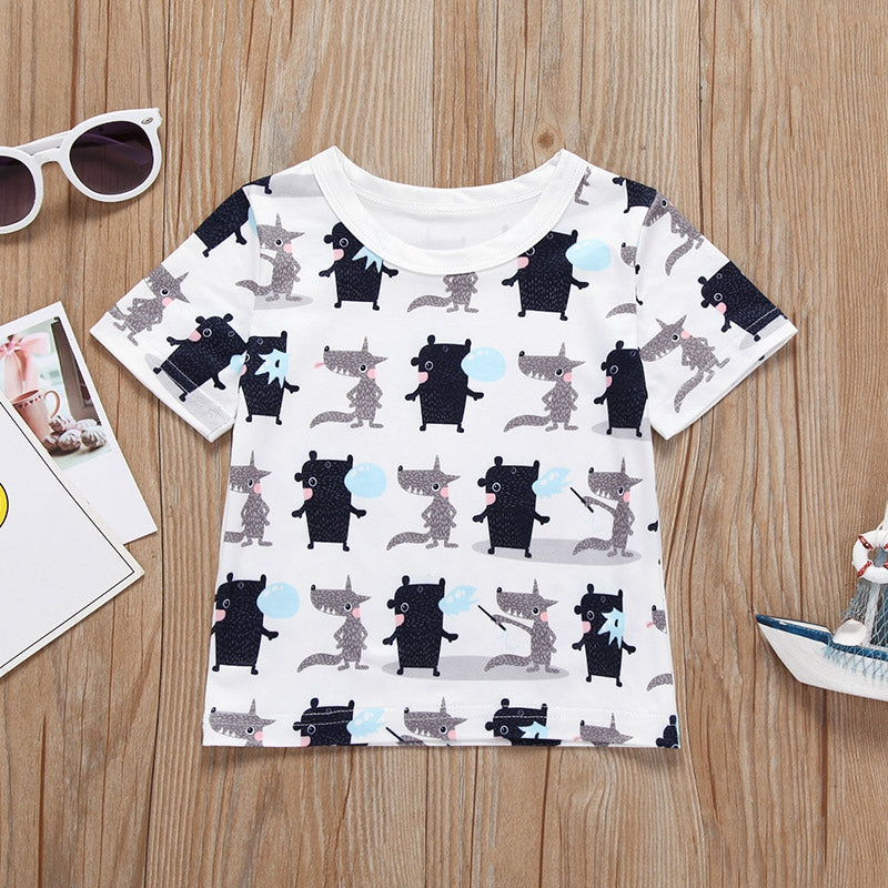 Boston Terrier Dog Baby Girls Round Collar Tee Help Shirt