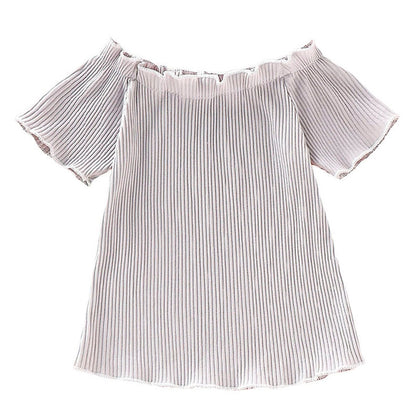 AD0014 Girls Top Off The Shoulder Short Sleeve Pleated Fold