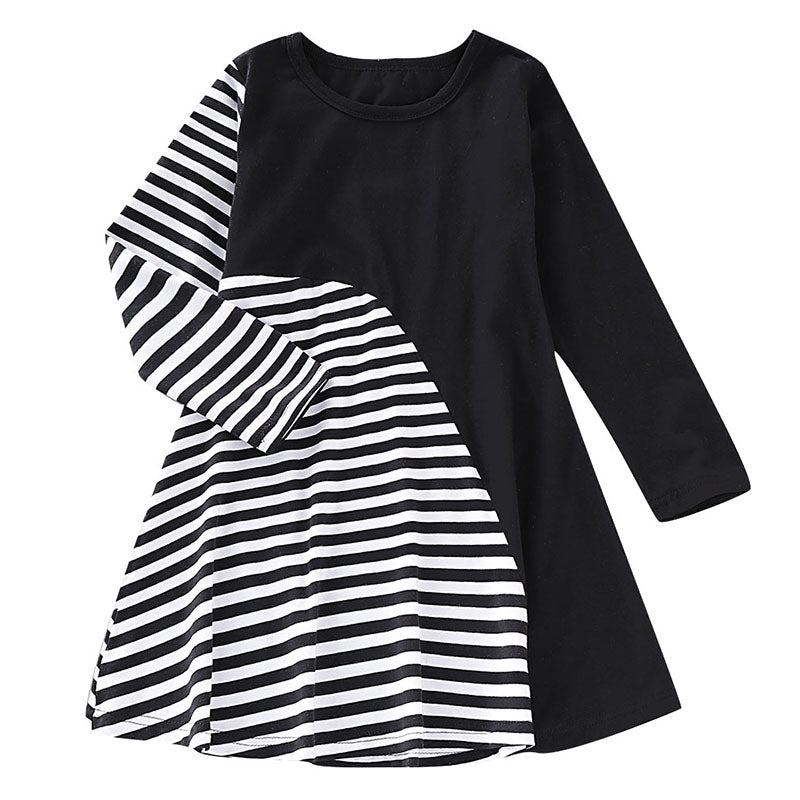 AD0021 Girls Dress Stripe Printed Long Sleeve Colour Blocking Round Neck