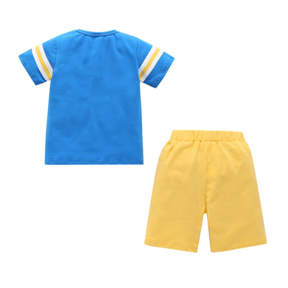 AB0008 Boys 2-piece Suit T-shirt Top Shorts Figure Printed Round Neck