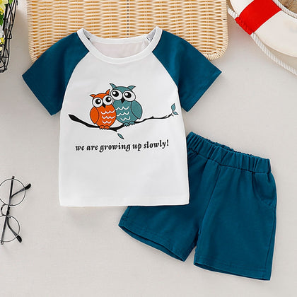 AB0005 Boys 2-piece Suit Top T-shirt Shorts Round Neck Short Sleeve