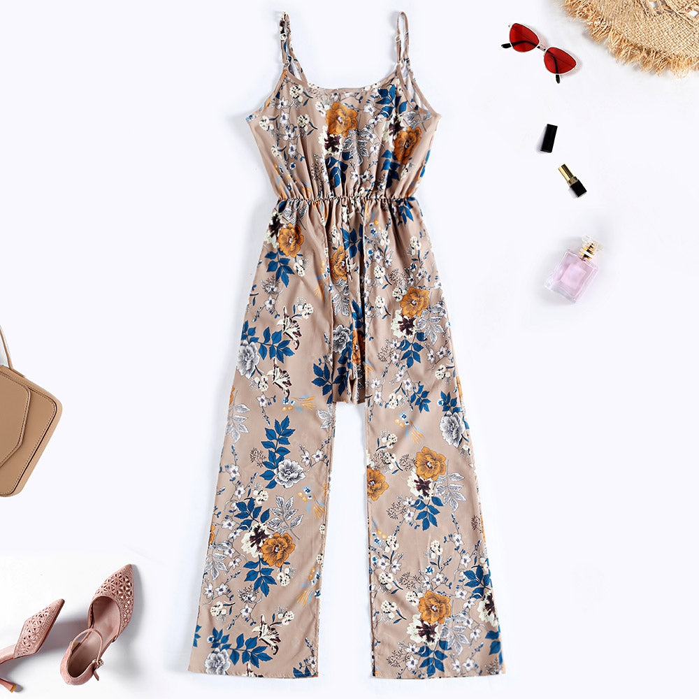 Floral Print Wrap Spaghetti Strap Women Jumpsuit with Hem