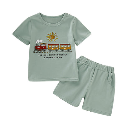 AB0006 Boys 2-piece Suit T-shirt Shorts Train Sun Printed Round Neck
