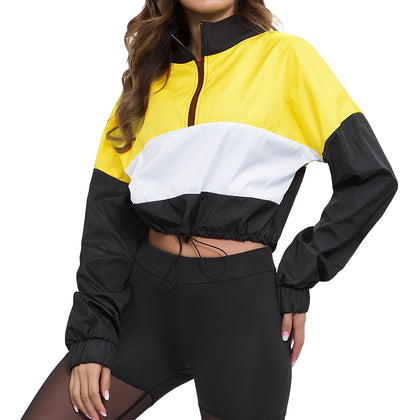 Women Pullover Stand Collar Color Blocking Long Sleeve Zipper Drawstring Crop Top