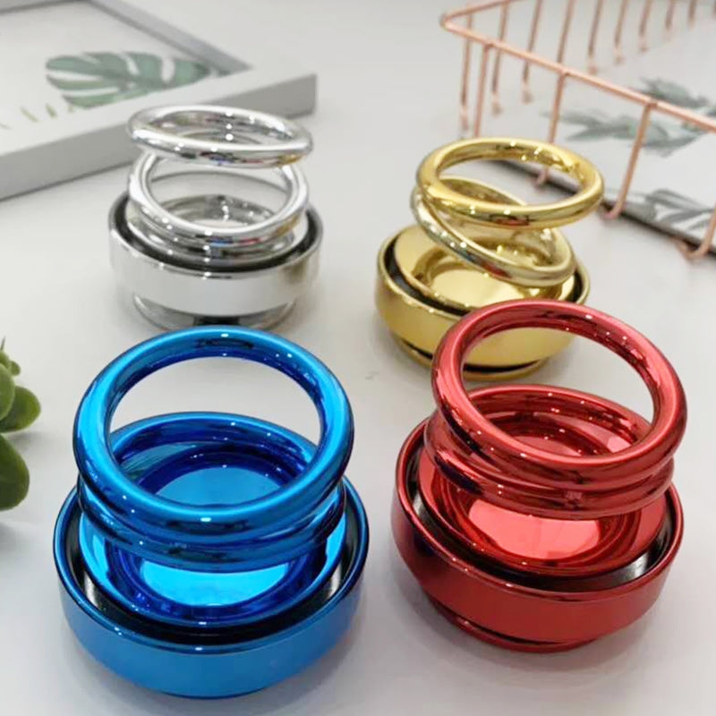 Solar-energy Double Ring Rotating Aromatherapy Car Decoration Toy
