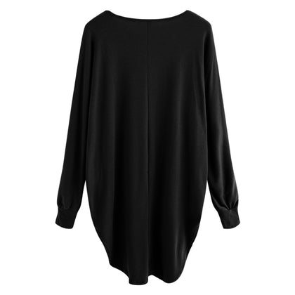 Women T-shirt Round Color Elastic Cuff Long Sleeves Solid Color Asymmetric Hem