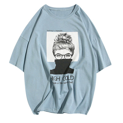 Portrait Sketch Print T-shirt Round Collar 100% Cotton Men Tee