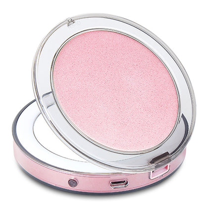Electric Portable Mirror Mini Make-up LED Light 3-time Magnifying Adjustable Brightness USB Port