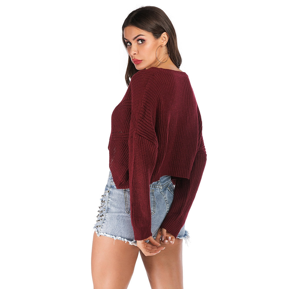 Irregular Knitted Women Pullover V-neck Long Sleeve Short Blouse Sweater