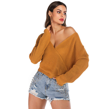 Wrap-around Loose Sweater Long-sleeved Solid Color