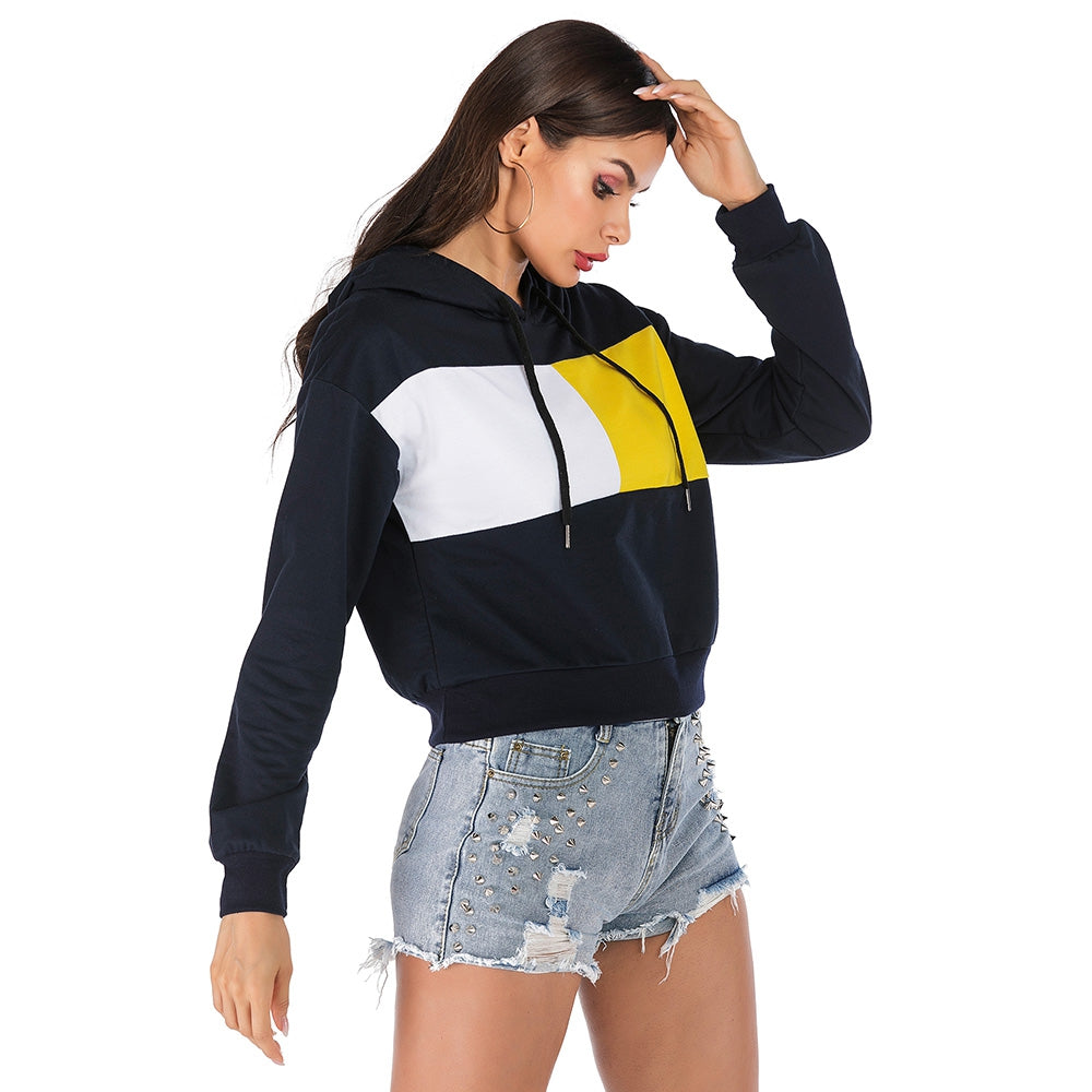 Hooded Color Blocking Hoodie Long-sleeved Pullover Sweater