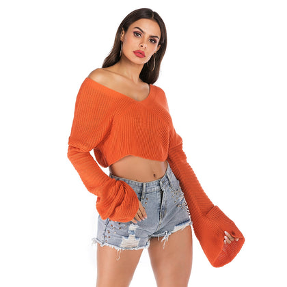 Women Pullover Sweater Lazy Style Solid Color V Neck Long Sleeve Crop Top